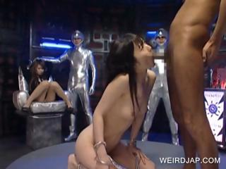Japanese slave gets throat..