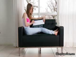 Petite skinny teen girl in..